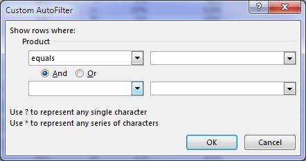 Excel Custom Filters