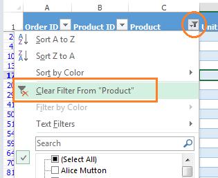 Excel unFilter drop down