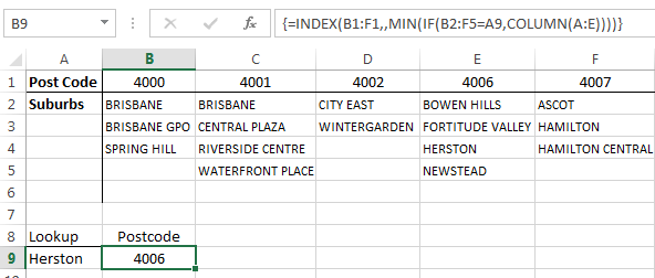 Excel find column containing a value