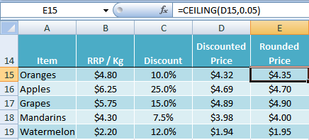 Excel CEILING function example