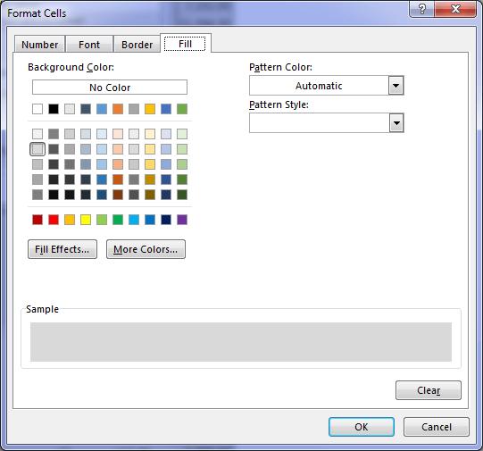 format fill colour