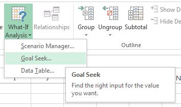 Excel Goal Seek tool