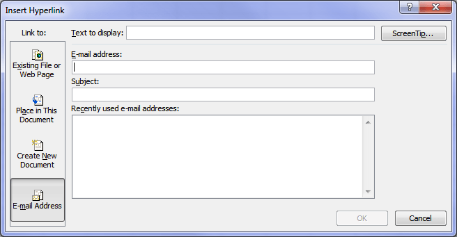 Hyperlink to an email address