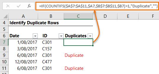 identify duplicates with a formula
