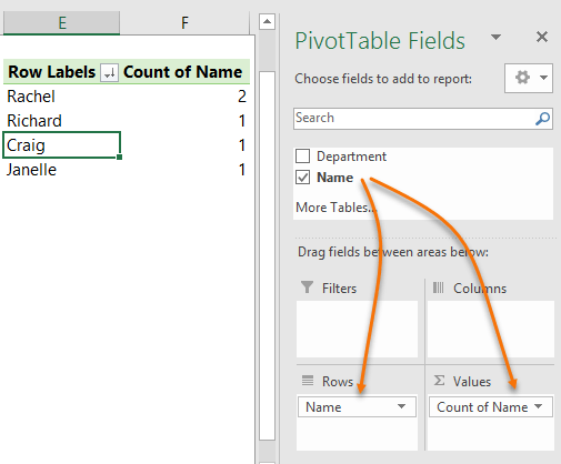 identify duplicates with PivotTables