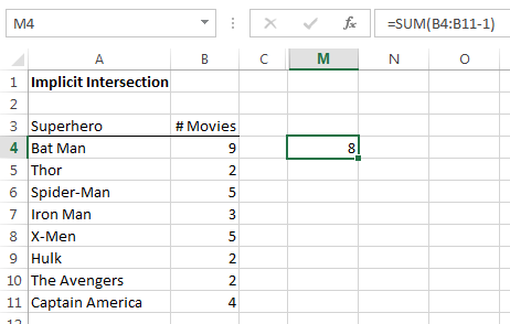 Excel array formula error