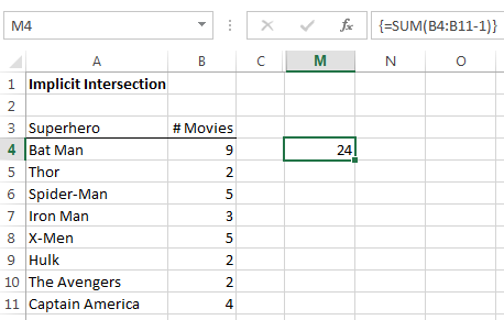 Excel array formula correct