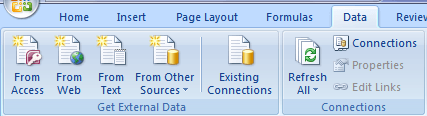 importing data into excel options