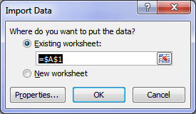 tell excel where to put imported data