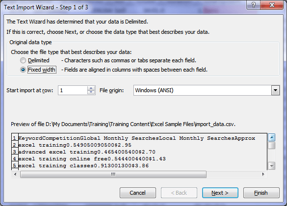 excel text import wizard step 1 no delimiters