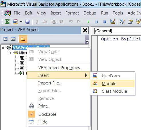 How to insert a VBA module