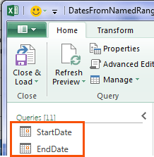 list dates using end date 1