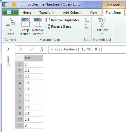 list of decimal numbers