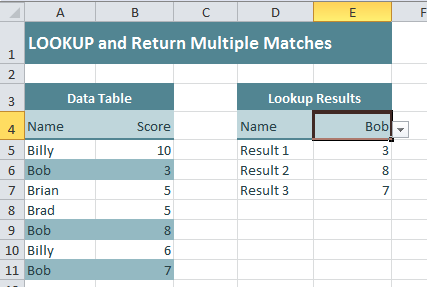 Excel Factor 17 Lookup and Return Multiple Matches • My Online