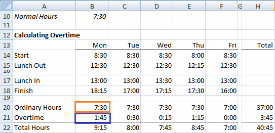 min max small large timesheet example