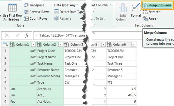 merge columns 1 and 2