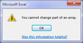 you cannot change part of an array error