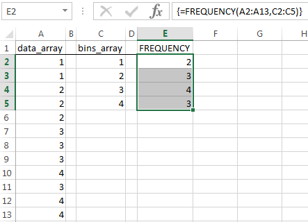 excel FREQUENCY formula