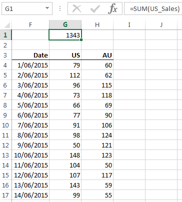 name for a range of cells used in a formula