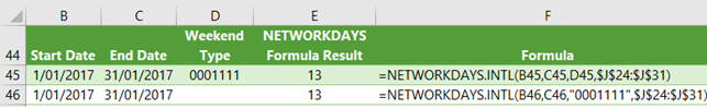 Excel NETWORKDAYS.INTL weekend string examples