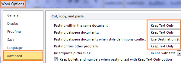 Word set default paste