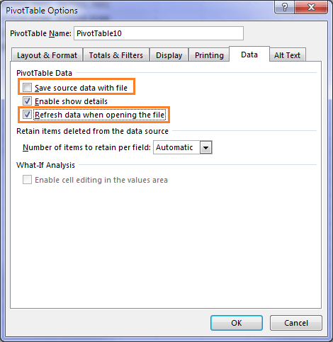 pivottable data options