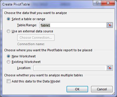 create PivotTable dialog box