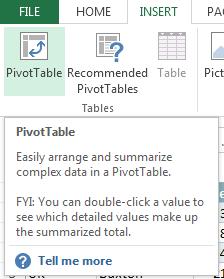 Excel Insert menu