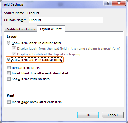 Show item labels in tabular form