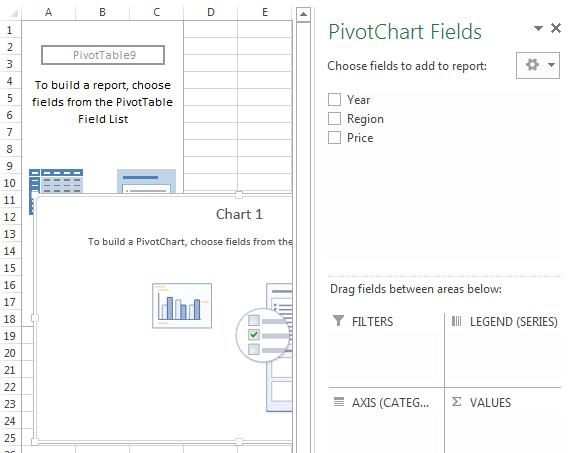 Excel PivotChart field list