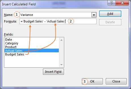 insert calculated field dialog box