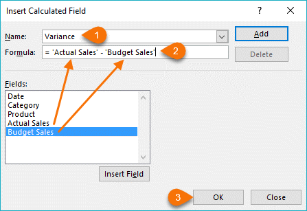 insert calculated field dialog box