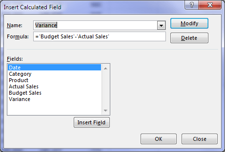 delete a calculated field