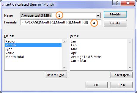 Excel pivotTable rolling average