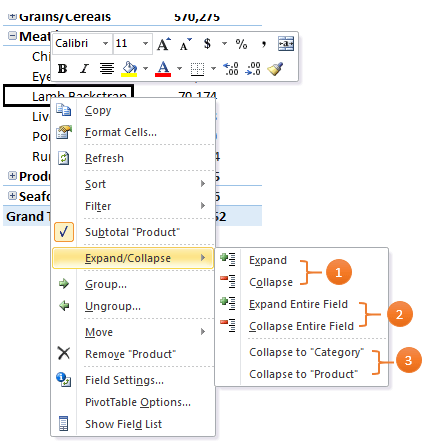 Excel PivotTable expand/collapse menu