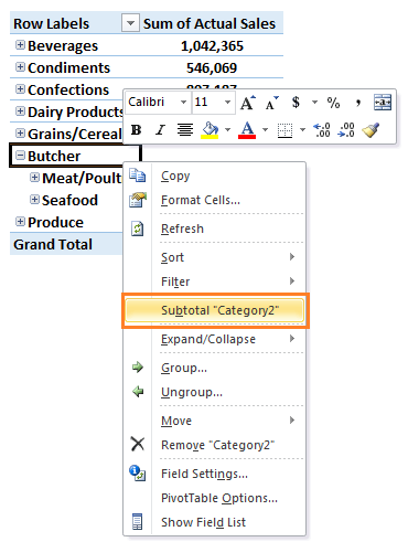 Excel PivotTable subtotal new group
