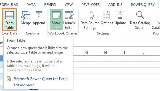 load data to Power Query