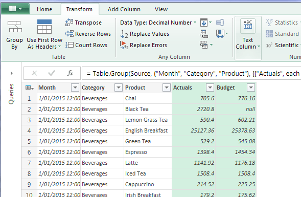 power query grouped data