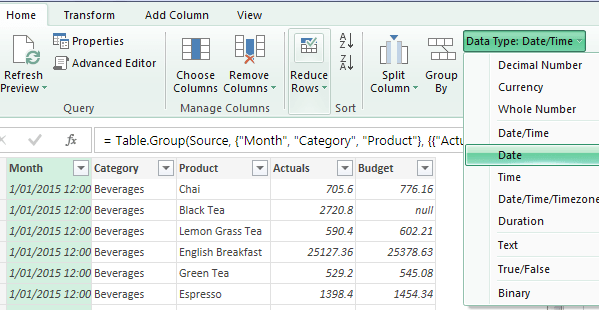 set data types in power query