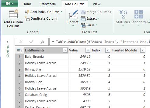 power query modulo column