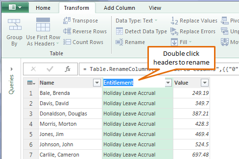power query rename columns