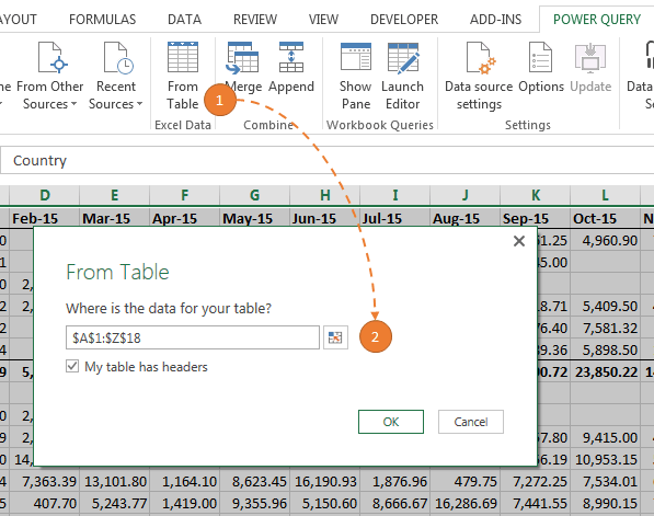 Excel 2010 and 2013: On the Power Query tab