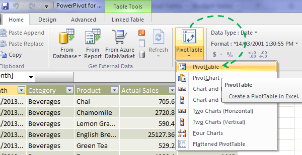 Excel 2010 Power Pivot window