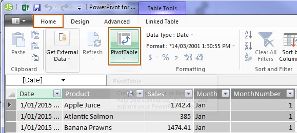 insert power pivot pivottable