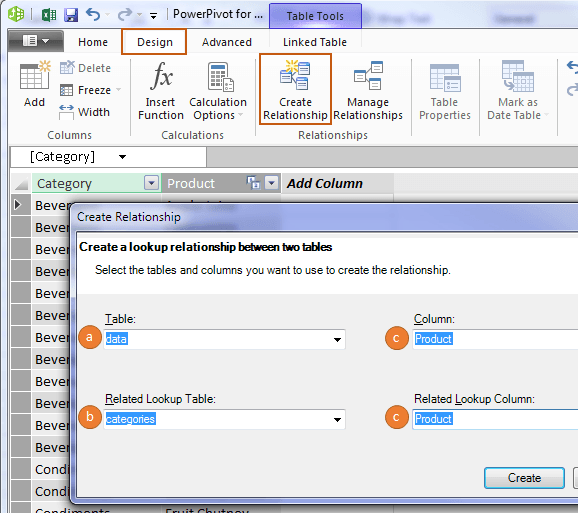 create relationships in Power Pivot