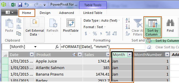 power pivot sort by column