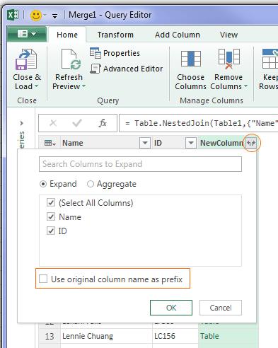 power query expand column
