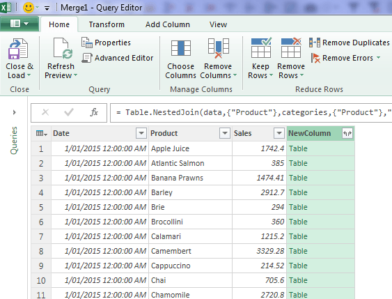 Expand Column in Power Query