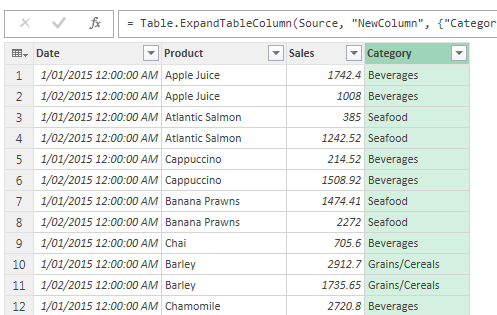 Merged table in Power Query