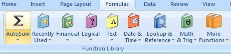 Excel autosum icon